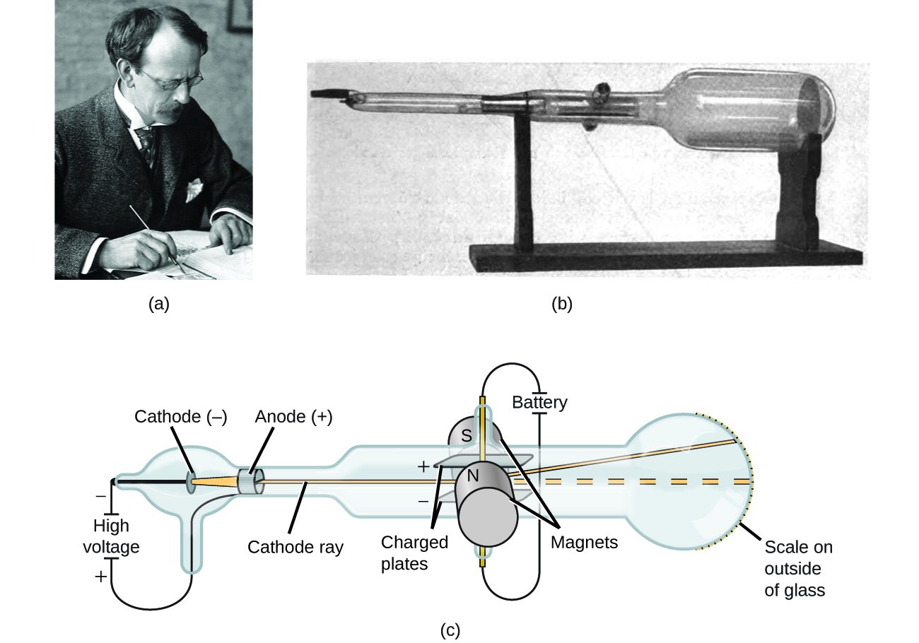"""Figure A shows a photo of J. J. Thomson working at a desk. Figure B shows a photograph of a cathode ray tube. It is a long, glass tube that is narrow at the left end but expands into a large bulb on the right end. The entire cathode tube is sitting on a wooden stand. Figure C shows the parts of the cathode ray tube. The cathode ray tube consists of a cathode and an anode. The cathode, which has a negative charge, is located in a small bulb of glass on the left side of the cathode ray tube. To the left of the cathode it says """"High voltage"""" and indicates a positive and negative charge. The anode, which has a positive charge, is located to the right of the cathode. Two charged plates are located to the right of the anode, and are connected to a battery and two magnets. The magnets are labeled """"S"""" and """"N."""" A cathode ray is generated from the cathode, travels through the anode and into a wider part of the cathode ray tube, where it travels between a positively charged electrode plate and a negatively charged electrode plate. The ray bends upward and continues to travel until it hits the wide part of the tube on the right. The rightmost end of the tube contains a printed scale that allows one to measure how much the ray was deflected."""