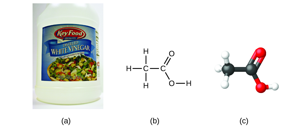 Figure A shows a jug of distilled, white vinegar. Figure B shows a structural formula for acetic acid which contains two carbon atoms connected by a single bond. The left carbon atom forms single bonds with three hydrogen atoms. The right carbon atom forms a double bond with an oxygen atom. The right carbon atom also forms a single bond with an oxygen atom. This oxygen forms a single bond with a hydrogen atom. Figure C shows a 3-D ball-and-stick model of acetic acid.