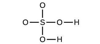 Figure D shows a sulfur atom forming single bonds with four oxygen atoms. Two of the oxygen atoms form a single bond with a hydrogen atom.