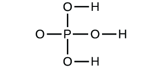 Figure D shows a structural diagram of a phosphorus atom that forms a single bond to four oxygen atoms each. Three of the oxygen atoms each have a single bond to a hydrogen atom.