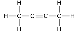 A structure is shown. There is a C atom which forms single bonds with three H atoms each. This C atom is bonded to another C atom. This second C atom forms a triple bond with another C atom which forms a single bond with a fourth C atom. The fourth C atom forms single bonds with three H atoms each.