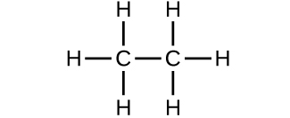 A structure is shown. A C atom forms a single bond with three H atoms each and with another C atom. The second C atom also forms a single bond with three H atoms each.