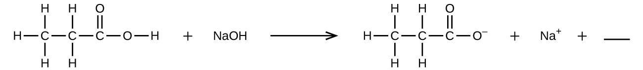This figure shows a chemical reaction. On the left side of the reaction arrow, a structural formula for a molecule is shown on the far left. It has a C atom on the left to which H atoms are bonded above, below, and to the left. To the right, another C atom is bonded which has H atoms bonded above and below. To the right, another C atom is bonded, which has a double bonded O atom above and another O atom singly bonded to the right. To the right of the singly bonded O atom, an H atom is bonded. This is followed by a plus sign and N a O H. A reaction arrow appears to the right, which is followed by another structural formula. It has a C atom on the left to which H atoms are bonded above, below, and to the left. To the right, another C atom is bonded which has H atoms bonded above and below. To the right, another C atom is bonded, which has a double bonded O atom above and another O atom singly bonded to the right. The singly bonded O atom is followed by a superscript negative sign. This is followed to the right by a plus sign, N a superscript positive sign, another plus sign, and a horizontal line segment, indicating a space for an answer to be written.