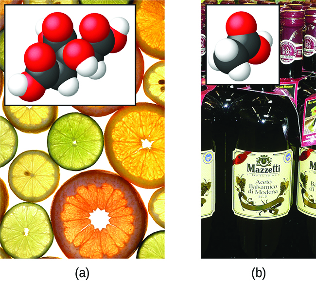 """This figure contains two images, each with an associated structural formula provided in the lower left corner of the image. The first image is a photograph of a variety of thinly sliced, circular cross sections of citrus fruits ranging in color for green to yellow, to orange and reddish-orange. The slices are closely packed on a white background. The structural formula with this picture shows a central chain of five C atoms. The leftmost C atom has an O atom double bonded above and to the left and a singly bonded O atom below and to the left. This single bonded O atom has an H atom indicated in red on its left side which is highlighted in pink. The second C atom moving to the right has H atoms bonded above and below. The third C atom has a single bonded O atom above which has an H atom on its right. This third C atom has a C atom bonded below it which has an O atom double bonded below and to the left and a singly bonded O atom below and to the right. An H atom appears in red and is highlighted in pink to the right of the singly bonded O atom. The fourth C atom has H atoms bonded above and below. The fifth C atom is at the right end of the structure. It has an O atom double bonded above and to the right and a singly bonded O atom below and to the right. This single bonded O atom has a red H atom on its right side which is highlighted in pink. The second image is a photograph of bottles of vinegar. The bottles are labeled, """"Balsamic Vinegar,"""" and appear to be clear and colorless. The liquid in this bottle appears to be brown. The structural formula that appears with this image shows a chain of two C atoms. The leftmost C atom has H atoms bonded above, below, and to the left. The C atom on the right has a doubly bonded O atom above and to the right and a singly bonded O atom below and to the right. This O atom has an H atom bonded to its right which is highlighted in pink."""