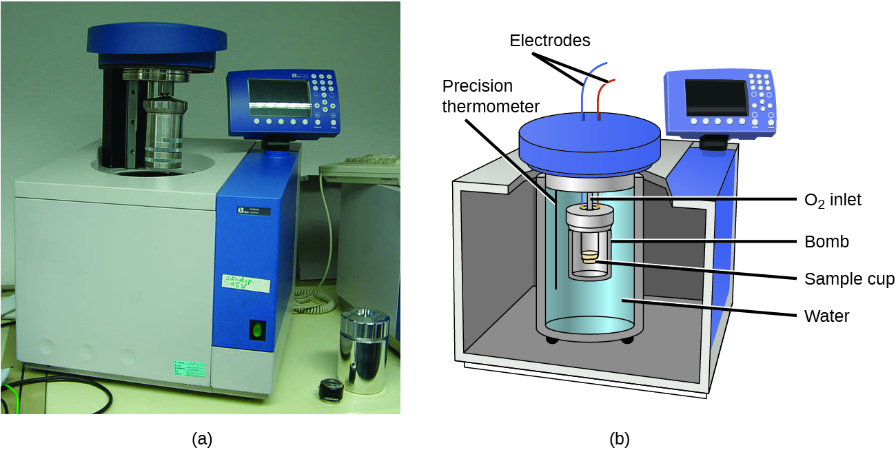 """A picture and a diagram are shown, labeled a and b, respectively. Picture a depicts a bomb calorimeter. It is a cube-shaped machine with a cavity in the top, a metal cylinder that is above the cavity, and a read-out panel attached to the top-right side. Diagram b depicts a cut away figure of a cube with a cylindrical container full of water in the middle of it. Another container, labeled """"bomb,"""" sits inside of a smaller cylinder which holds a sample cup and is nested in the cylindrical container surrounded by the water. A black line extends into the water and is labeled """"Precision thermometer."""" Two wires labeled """"Electrodes"""" extend away from a cover that sits on top of the interior container. A read-out panel is located at the top right of the cube."""