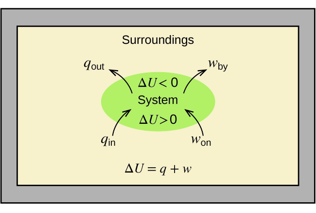 """A rectangular diagram is shown. A green oval lies in the center of a tan field inside of a gray box. The tan field is labeled """"Surroundings"""" and the equation """"Δ U = q + w"""" is written at the bottom of the diagram. Two arrows face into the green oval and are labeled """"q subscript in"""" and """"w subscript on"""" while two more arrows face away from the oval and are labeled """"q subscript out"""" and """"w subscript by."""" The center of the oval contains the terms """"Δ U > 0"""", """"System,"""" and """"Δ U < 0."""""""