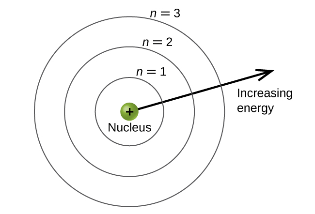 """This figure contains a central green sphere labeled """"nucleus."""" There is a plus sign in the middle of the sphere. This sphere is encircled by 3 concentric, evenly spaced rings. The first and closest to the center is labeled, """"n equals 1."""" The second ring is labeled, """"n equals 2,"""" and the third ring is labeled, """"n equals 3."""" An arrow is drawn from the edge of the central sphere to the right extending out of the concentric rings. It is labeled, """"increasing energy."""""""