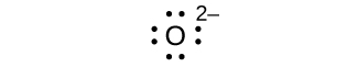 A Lewis dot diagram shows the symbol for oxygen, O, surrounded by eight dots and a superscripted two negative sign.