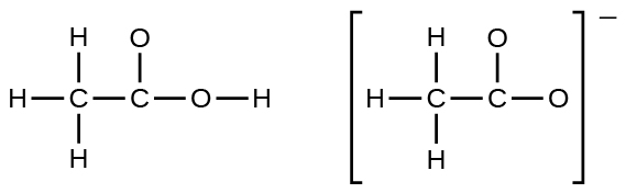 Two Lewis structures are shown with a double headed arrow in between. The left structure shows a carbon atom single bonded to three hydrogen atoms and a second carbon atom. The second carbon is single bonded to two oxygen atoms. One of the oxygen atoms is single bonded to a hydrogen atom. The right structure, surrounded by brackets and with a superscripted negative sign, depicts a carbon atom single bonded to three hydrogen atoms and a second carbon atom. The second carbon atom is single bonded to two oxygen atoms.