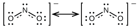 Two Lewis structures are shown with a double headed arrow drawn between them. The left structure shows an oxygen atom with two lone pairs of electrons double bonded to a nitrogen atom with one lone pair of electrons that is single bonded to an oxygen atom with three lone pairs of electrons. Brackets surround this structure, and there is a superscripted negative sign. The right structure shows an oxygen atom with three lone pairs of electrons single bonded to a nitrogen atom with one lone pair of electrons that is double bonded to an oxygen atom with two lone pairs of electrons. Brackets surround this structure, and there is a superscripted negative sign.