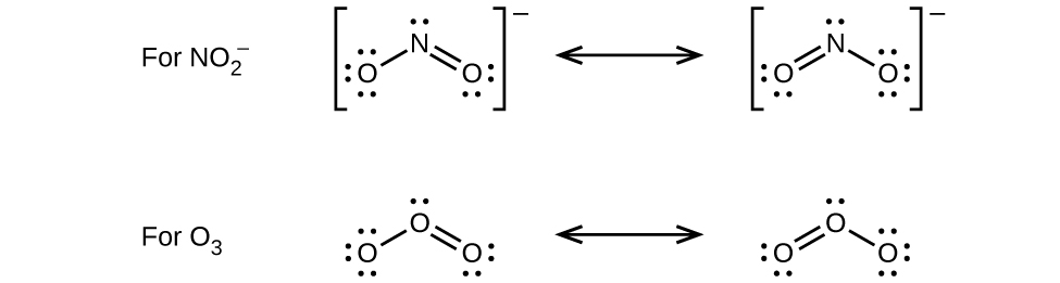 """Two pairs of Lewis structures are shown with a double-headed arrow in between each pair. The left structure of the first pair shows a nitrogen atom with one lone pair of electrons single bonded to an oxygen atom with three lone pairs of electrons. It is also double bonded to an oxygen with two lone pairs of electrons. The right image of this pair depicts the mirror image of the left. Both images are surrounded by brackets and a superscripted negative sign. They are labeled, """"For N O subscript two superscript negative sign."""" The left structure of the second pair shows an oxygen atom with one lone pair of electrons single bonded to an oxygen atom with three lone pairs of electrons. It is also double bonded to an oxygen atom with two lone pairs of electrons. The right structure appears as a mirror image of the left. These structures are labeled, """"For O subscript three."""""""