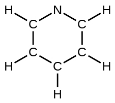A Lewis structure depicts a hexagonal ring composed of five carbon atoms and one nitrogen atom. Each carbon atom is single bonded to a hydrogen atom.