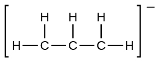 A Lewis structure shows a carbon atom single bonded to two hydrogen atoms and a second carbon atom. The second carbon atom is single bonded to a hydrogen atom and a third carbon atom. The third carbon atom is single bonded to two hydrogen atoms. The whole structure is surrounded by brackets, and there is a superscripted negative sign.