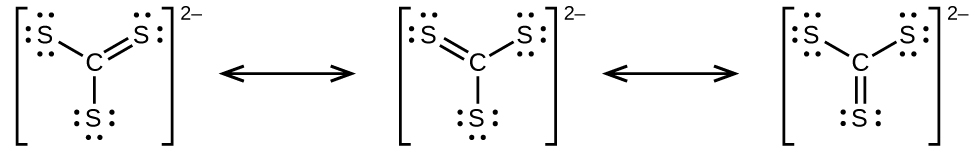The figure shows three Lewis structures that are each surrounded by brackets and have a superscripted 2 negative sign. They are written with a double-headed arrow in between each diagram. The first of this trio has a carbon atom single bonded to two sulfur atoms, each of which has thee lone pairs of electrons, and double bonded to a third sulfur atom with two lone pairs of electrons. The second and third diagrams have the same atoms present, but each time the double bond moves between a different carbon and sulfur pair. The lone electron pairs also shift to correspond with the bond changes.