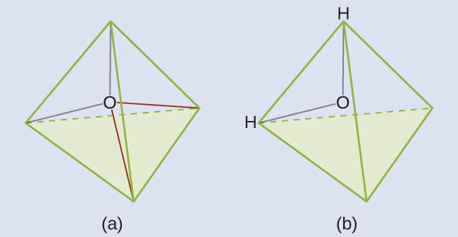 """Two diagrams are shown and labeled, """"a"""" and """"b."""" Diagram a shows an oxygen atom in the center of a four-sided pyramid shape. Diagram b shows the same image as diagram a, but this time there are hydrogen atoms located at two corners of the pyramid shape."""