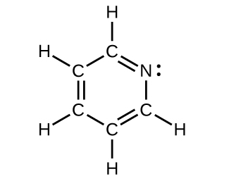 A Lewis structure is shown in which a hexagonal ring structure is made up of five carbon atoms and one nitrogen atom with a lone pair of electrons. There are alternating double and single bonds in between each carbon atom. Each carbon atom is also single bonded to one hydrogen atom.