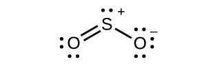 A Lewis structure is shown in which a sulfur atom with two lone pairs of electrons and a positive sign is double bonded to an oxygen with two lone pairs of electrons. The sulfur atom is also single bonded to an oxygen with three lone pairs of electrons with a negative sign. It is drawn in an angular shape.