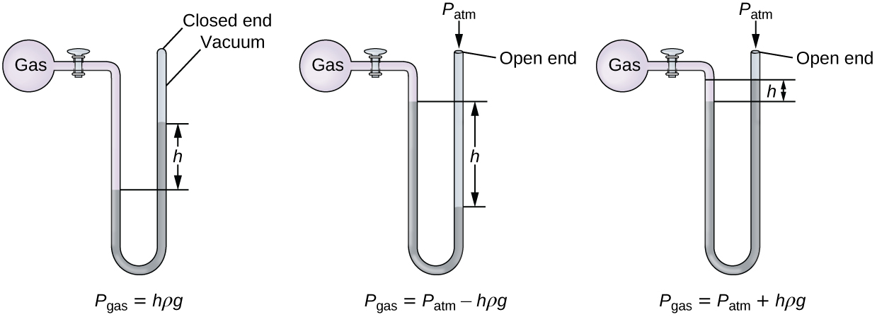 """Three diagrams of manometers are shown. Each manometer consists of a spherical pink container filled with gas on the left that is connected to a U-shaped, sealed tube by a valve on its right. The top of the U aligns with the gas-filled sphere and the U, which extends below, contains mercury. The first manometer has a sealed tube. The sealed end to the upper right in the diagram is labeled """"closed end"""" and """"vacuum."""" The mercury level is higher in the right side of the tube than in the left. The difference in height is labeled """"h."""" Beneath this manometer illustration appears the label P subscript gas equal sign h rho g. The second manometer has an open-ended tube, which is labeled """"open end."""" At this opening in the upper right of the diagram is the label P subscript atm. The mercury level is higher in the left side of the tube than in the right. This difference in height is labeled """"h."""" Beneath this manometer illustration appears the label P subscript gas equal sign P subscript atm minus sign h rho g. The third manometer has an open-ended tube and is similar to the second manometer except that the mercury level is higher in the right side of the tube than in the left. This difference in height is labeled """"h."""" Beneath this manometer illustration appears the label P subscript gas equal sign P subscript a t m plus h rho g."""