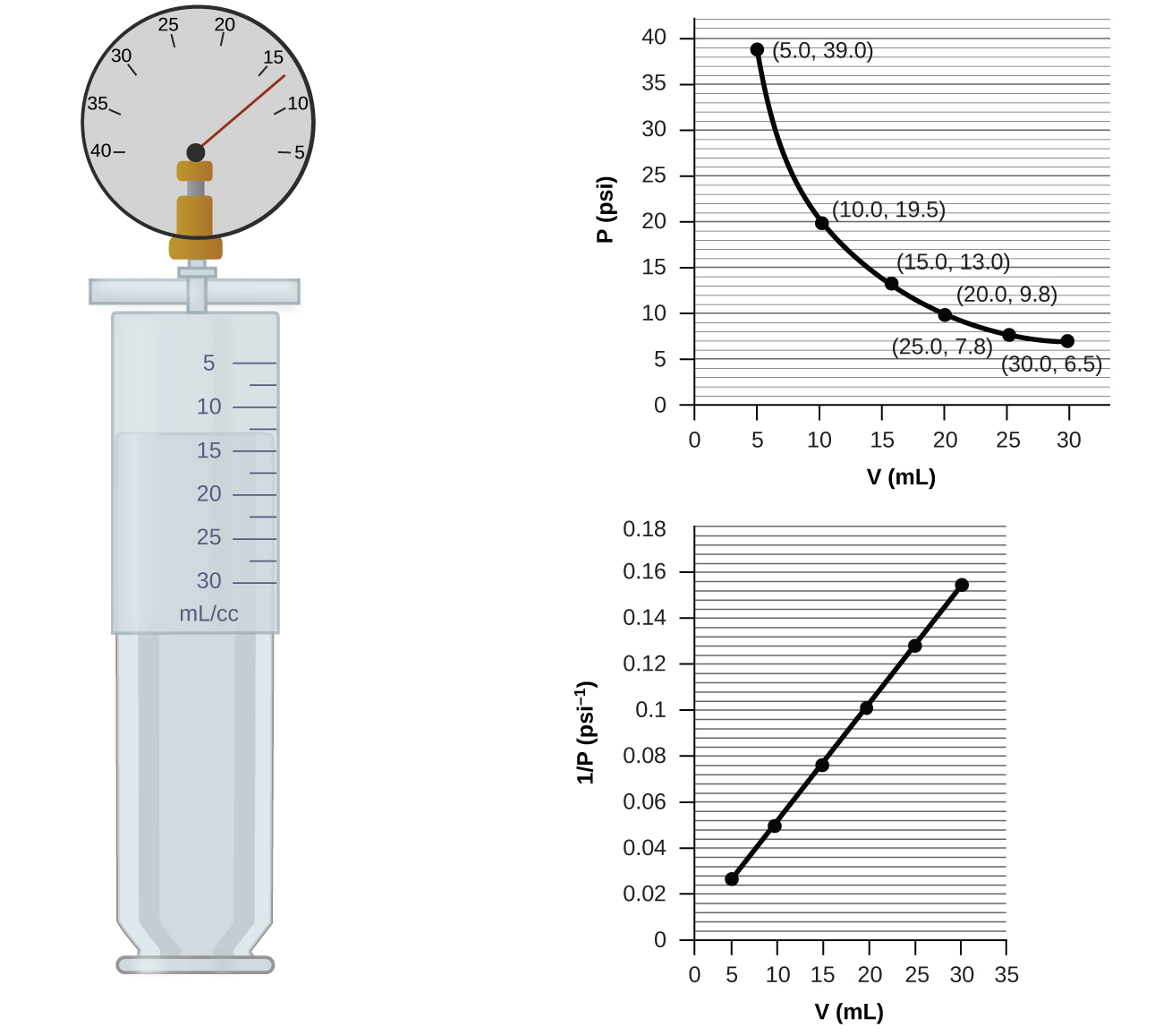 """This figure contains a diagram and two graphs. The diagram shows a syringe labeled with a scale in m l or c c with multiples of 5 labeled beginning at 5 and ending at 30. The markings halfway between these measurements are also provided. Attached at the top of the syringe is a pressure gauge with a scale marked by fives from 40 on the left to 5 on the right. The gauge needle rests between 10 and 15, slightly closer to 15. The syringe plunger position indicates a volume measurement about halfway between 10 and 15 m l or c c. The first graph is labeled """"V ( m L )"""" on the horizontal axis and """"P ( p s i )"""" on the vertical axis. Points are labeled at 5, 10, 15, 20, and 25 m L with corresponding values of 39.0, 19.5, 13.0, 9.8, and 6.5 p s i. The points are connected with a smooth curve that is declining at a decreasing rate of change. The second graph is labeled """"V ( m L )"""" on the horizontal axis and """"1 divided by P ( p s i )"""" on the vertical axis. The horizontal axis is labeled at multiples of 5, beginning at zero and extending up to 35 m L. The vertical axis is labeled by multiples of 0.02, beginning at 0 and extending up to 0.18. Six points indicated by black dots on this graph are connected with a black line segment showing a positive linear trend."""