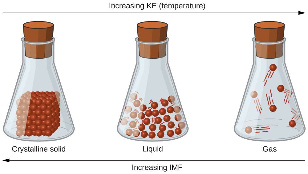 """Three sealed flasks are labeled, """"Crystalline solid,"""" """"Liquid,"""" and """"Gas,"""" from left to right. The first flask holds a cube composed of small spheres sitting on the bottom while the second flask shows a lot of small spheres in the bottom that are spaced a small distance apart from one another and have lines around them to indicate motion. The third flask shows a few spheres spread far from one another with larger lines to indicate motion. There is a right-facing arrow that spans the top of all three flasks. The arrow is labeled, """"Increasing K E ( temperature )."""" There is a left-facing arrow that spans the bottom of all three flasks. The arrow is labeled, """"Increasing I M F."""""""