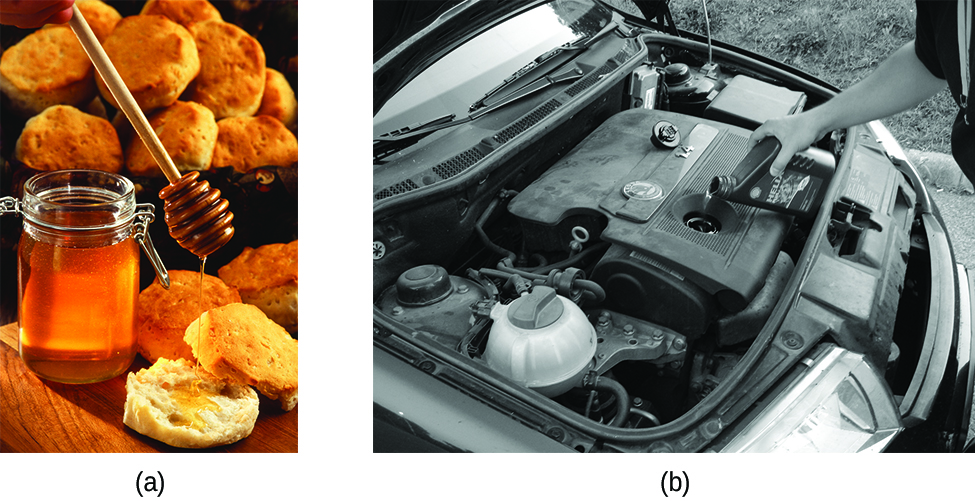 """Two photographs are shown and labeled """"a"""" and """"b."""" Photo a shows a jar of honey with a dipper drizzling it onto a biscuit. More biscuits are shown in a basket in the background. Photo b shows the engine of a car and a person adding motor oil to the engine."""