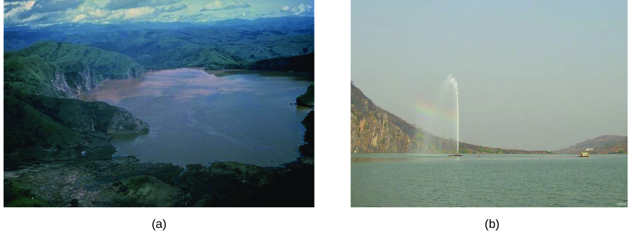 Two photos are shown. The first is an aerial view of a lake surrounded by green hills. The second shows a large body of water with a fountain sending liquid up into the air several yards or meters above the surface of the water.