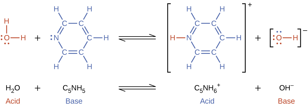 """This figure has two rows. In both rows, a chemical reaction is shown. In the first, structural formulas are provided. In this model, in red, is an O atom which has H atoms singly bonded above and to the right. The O atom has lone pairs of electron dots on its left and lower sides. This is followed by a plus sign. The plus sign is followed, in blue, by an N atom with one lone pair of electron dots. The N atom forms a double bond with a C atom, which forms a single bond with a C atom. The second C atom forms a double bond with another C atom, which forms a single bond with another C atom. The fourth C atom forms a double bond with a fifth C atom, which forms a single bond with the N atom. This creates a ring structure. Each C atom is also bonded to an H atom. An equilibrium arrow follows this structure. To the right, in brackets is a structure where an N atom bonded to an H atom, which is red, appears. The N atom forms a double bond with a C atom, which forms a single bond with a C atom. The second C atom forms a double bond with another C atom, which forms a single bond with another C atom. The fourth C atom forms a double bond with a fifth C atom, which forms a single bond with the N atom. This creates a ring structure. Each C atom is also bonded to an H atom. Outside the brackets, to the right, is a superscript positive sign. This structure is followed by a plus sign. Another structure that appears in brackets also appears. An O atom with three lone pairs of electron dots is bonded to an H atom. There is a superscript negative sign outside the brackets. To the right, is the equation: k equals [ C subscript 5 N H subscript 6 superscript positive sign ] [ O H superscript negative sign] all divided by [ C subscript 5 N H subscript 5 ]. Under the initial equation, is this equation: H subscript 2 plus C subscript 5 N H subscript 5 equilibrium arrow C subscript 5 N H subscript 6 superscript positive sign plus O H superscript negative sign. H subscript 2 O is labeled, """"ac"""