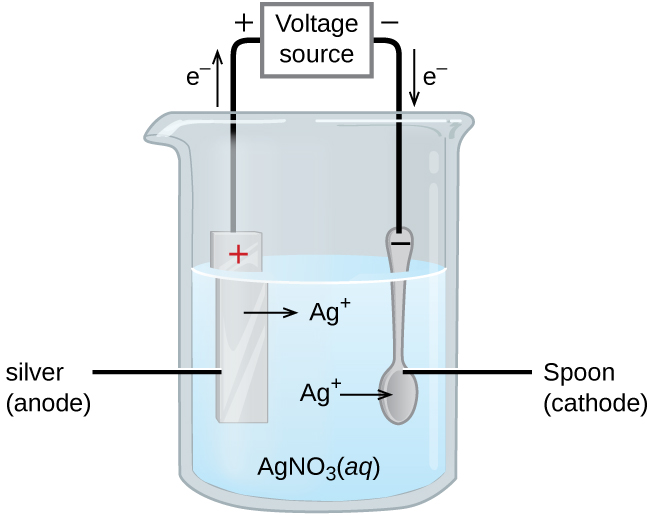 """This figure contains a diagram of an electrochemical cell. One beakers is shown that is just over half full. The beaker contains a clear, colorless solution that is labeled """"A g N O subscript 3 ( a q )."""" A silver strip is mostly submerged in the liquid on the left. This strip is labeled """"Silver (anode)."""" The top of the strip is labeled with a red plus symbol. An arrow points right from the surface of the metal strip into the solution to the label """"A g superscript plus"""" to the right. A spoon is similarly suspended in the solution and is labeled """"Spoon (cathode)."""" It is labeled with a black negative sign on the tip of the spoon's handle above the surface of the liquid. An arrow extends from the label """"A g superscript plus"""" to the spoon on the right. A wire extends from the top of the spoon and the strip to a rectangle labeled """"Voltage source."""" An arrow points upward from silver strip which is labeled """"e superscript negative."""" Similarly, an arrow points down at the right to the surface of the spoon which is also labeled """"e superscript negative."""" A plus sign is shown just outside the voltage source to the left and a negative is shown to its right."""