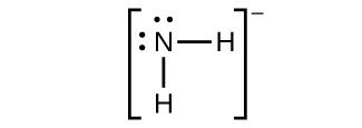 This Lewis structure shows a nitrogen atom with two lone pairs of electrons single bonded to two hydrogen atoms. The structure is surrounded by brackets. Outside and superscript to the brackets is a negative sign.