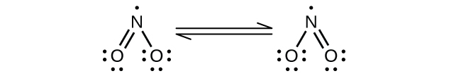Two Lewis structures are shown and connected by double-headed arrows in between. The left structure shows a nitrogen atom with a single electron double bonded to an oxygen atom which has two lone pairs of electrons. The nitrogen atom is also single bonded to an oxygen atom with three lone pairs of electrons. The right structure is a mirror image of the left structure.