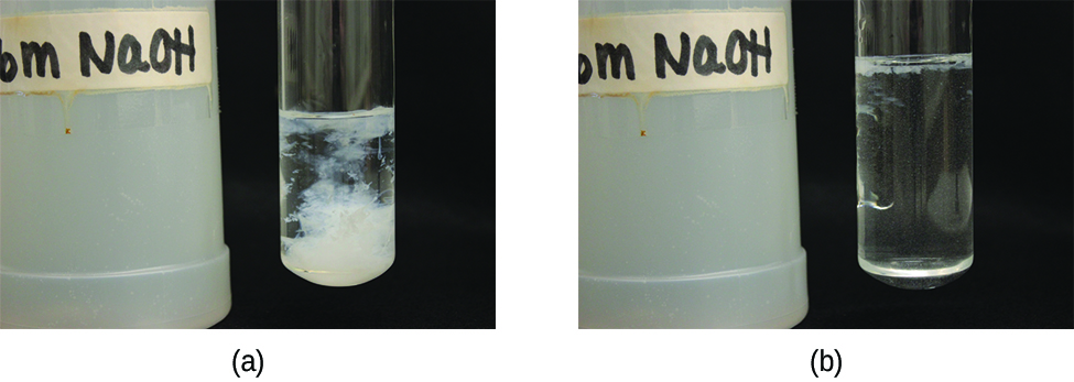 This figure has two photos. The first photo shows a bottle labeled NaOH and a test tube containing a liquid. A white substance appears to be in the liquid. The second photo is set up similarly, but the test tube now contains only a clear liquid.