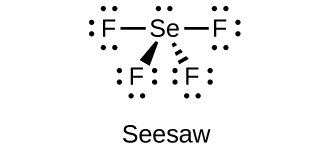"""This Lewis structure shows a selenium atom with one lone pair of electrons single bonded to four fluorine atoms, each of which has three lone pairs of electrons. The image is labeled """"Seesaw."""""""