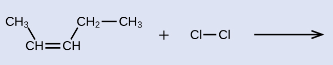 The left side of a reaction and arrow are shown with an empty product side. On the left, C H subscript 3 is bonded down and to the right to C H which has a double bond to another C H. The second C H is bonded up and to the right to C H subscript 2 which is also bonded to C H subscript 3. A plus sign is shown with a C l atom bonded to a C l atom following it. This is also followed by a reaction arrow.