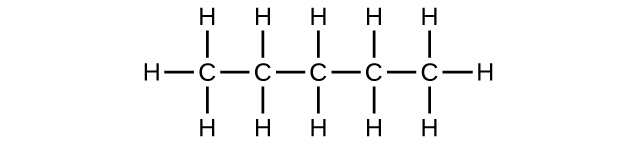 A chain of five C atoms with single bonds is shown. Each C atom has an H atom bonded above and below it. The C atoms on the end of the chain have a third H atom bonded to them each.