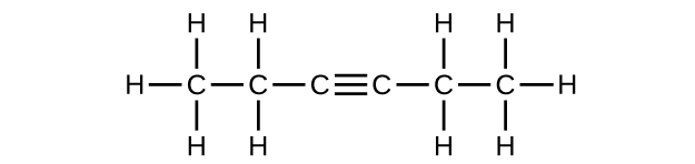 This figure shows a hydrocarbon chain with a length of six C atoms. The first C atom has three H atoms bonded to it, and it is also bonded to a second C atom. The second C atom has an H atom bonded above and below it. It is also bonded to a third C atom. The third C atom forms a triple bond to a fourth C atom. The fourth C atom forms a single bond with a fifth C atom which has two H atoms bonded above and below it. The sixth C atom has three H atoms bonded to it.