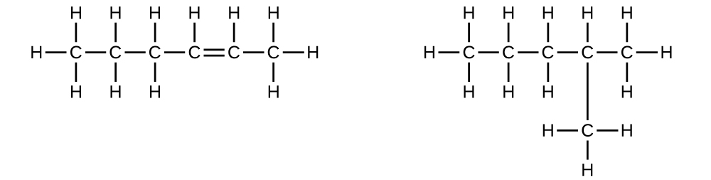 Two structural formulas are shown. In the first, a chain of six carbon atoms with a single double bond between carbons two and three counting right to left across the molecule is shown with twelve total H atoms bonded. H atoms are bonded at each end of the molecule as well as above. H atoms are also bonded below all C atoms except those involved in the double bond. In the second structure, a hydrocarbon chain of five C atoms connected by single bonds is shown. A single C with three attached H atoms is bonded beneath the second carbon counting right to left across the molecule.