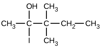 This shows a C H subscript 3 group bonded to a C atom. The C atom is bonded to an O H group and an I atom. It is also bonded to a second C atom. This second C atom is bonded above and below to a C H subscript 3 group. The second C atom is bonded to a C H subscript 2 group with is bonded to a C H subscript 3 group.