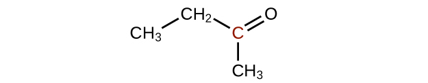 A molecular structure is shown with a C H subscript 3 group which is bonded up and to the right to a C H subscript 2 group. The C H subscript 2 group is bonded down and to the left to an C atom. This C atom appears in red. The C atom forms a double bond with an O atom up and to the right. The C atom also forms a single bond to a C H subscript 3 group which appears directly below it.