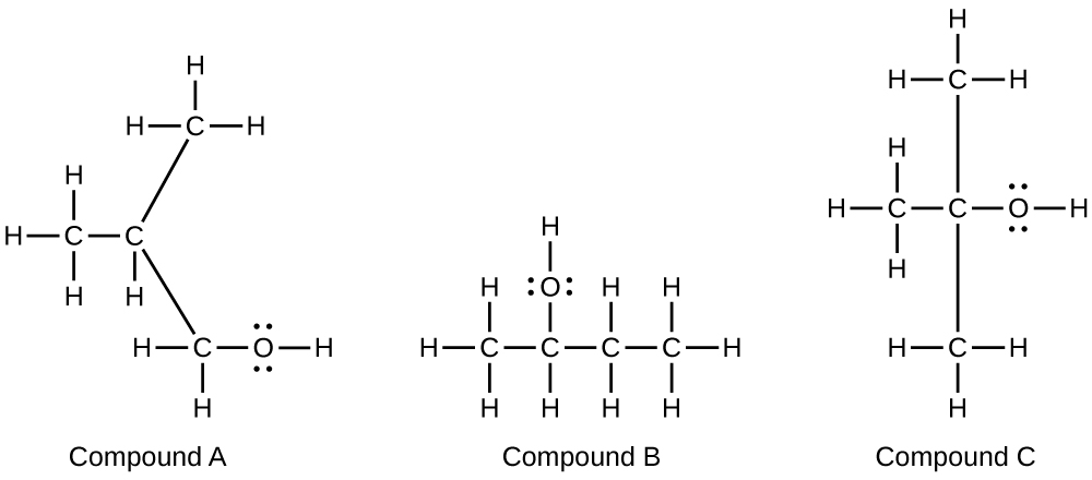 This figure shows three molecular structures labeled compound A, compound B, and compound C. In A, a C atom is shown bonded the three H atoms and a second C atom. This C atom is bonded to one H atom. Up and to the right it is bonded to another C atom which is bonded to three H atoms. Down and to the left it is bonded to another C atom which is bonded to two H atoms and an O atom. The O atom is bonded to an H atom. The O atom has two pairs of electron dots. In B, a C atom is bonded to three H atoms and another C atom. This second C atom is bonded to an H atom and an O atom. The O atom has two pairs of electron dots and is bonded to an H atom. The second C atom is bonded to third C atom which is bonded to two H atoms. The third C atom is bonded to a fourth C atom which is bonded to three H atoms. In C, a C atom is bonded to three H atoms and another C atom. This C atom is bonded above to another C atom which is bonded to three H atoms, and below to a C atom which is bonded to three H atoms. It is also bonded to an O atom which is bonded to an H atom. The O atom has two pairs of electron dots.