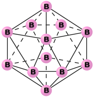 """An image shows a group of atoms, each labeled, """"B,"""" connected together with single bonds into a symmetrical, twenty-sided shape."""