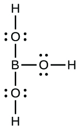 This Lewis structure is composed of a boron atom that is single bonded to three oxygen atoms, each of which has two lone pairs of electrons. Each oxygen atom is single bonded to a hydrogen atom.