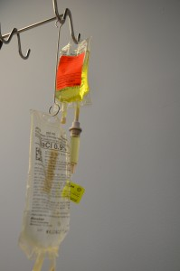 Secondary medication set up by gravity