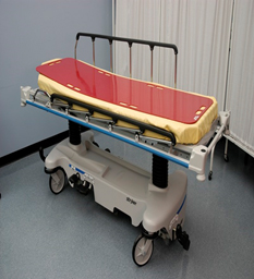 Slider board (red) on a stretcher