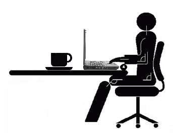A stick figure sits at a desk with a laptop. Their back is straight and their arms are at 90 degrees over the keyboard.