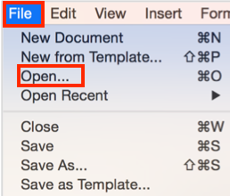 To open an existing document in Word, click File, then Open, then select the document.