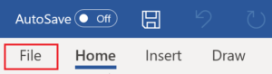 """""""File"""" tab in Microsoft Word is highlighted."""
