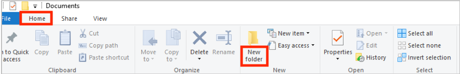 """Go to """"Home"""" in File Explorer, then select """"New folder"""" to make a new folder."""