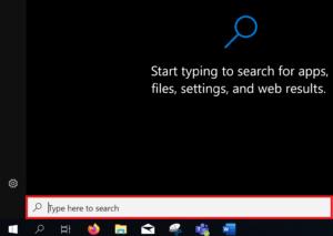 Search box in the Windows Start menu.