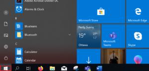 Menu when click Windows Start button.