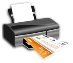 A computer printer outputting a colourful document.